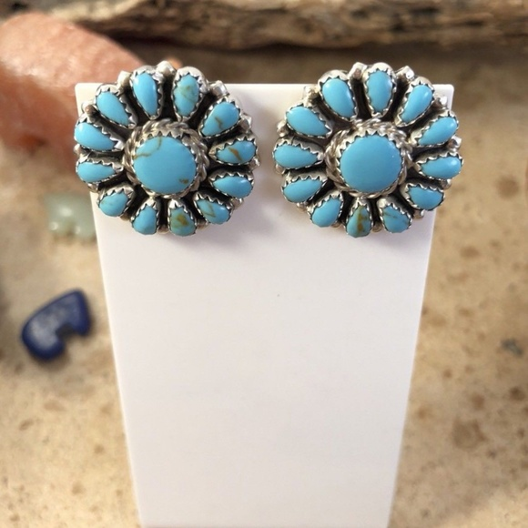 85125173f Jewelry | Navajo Cluster Turquoise Sterling Silver Post | Poshmark